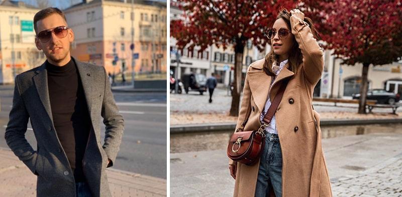 Мужчина и женщина в солнцезащитных очках осенью фото