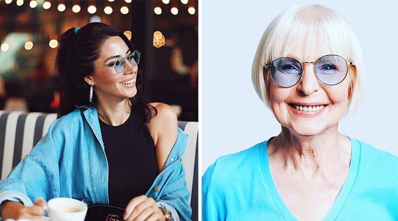 с чем можно носить синие очки фото