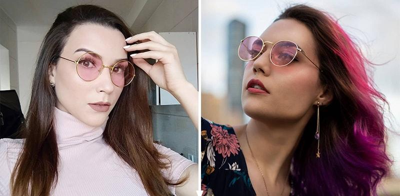 с чем носить розовые солнцезащитные очки фото