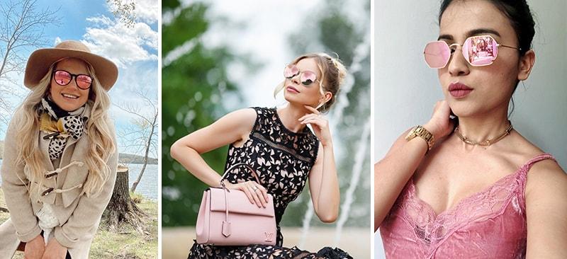 С чем носить зеркальные розовые очки фото